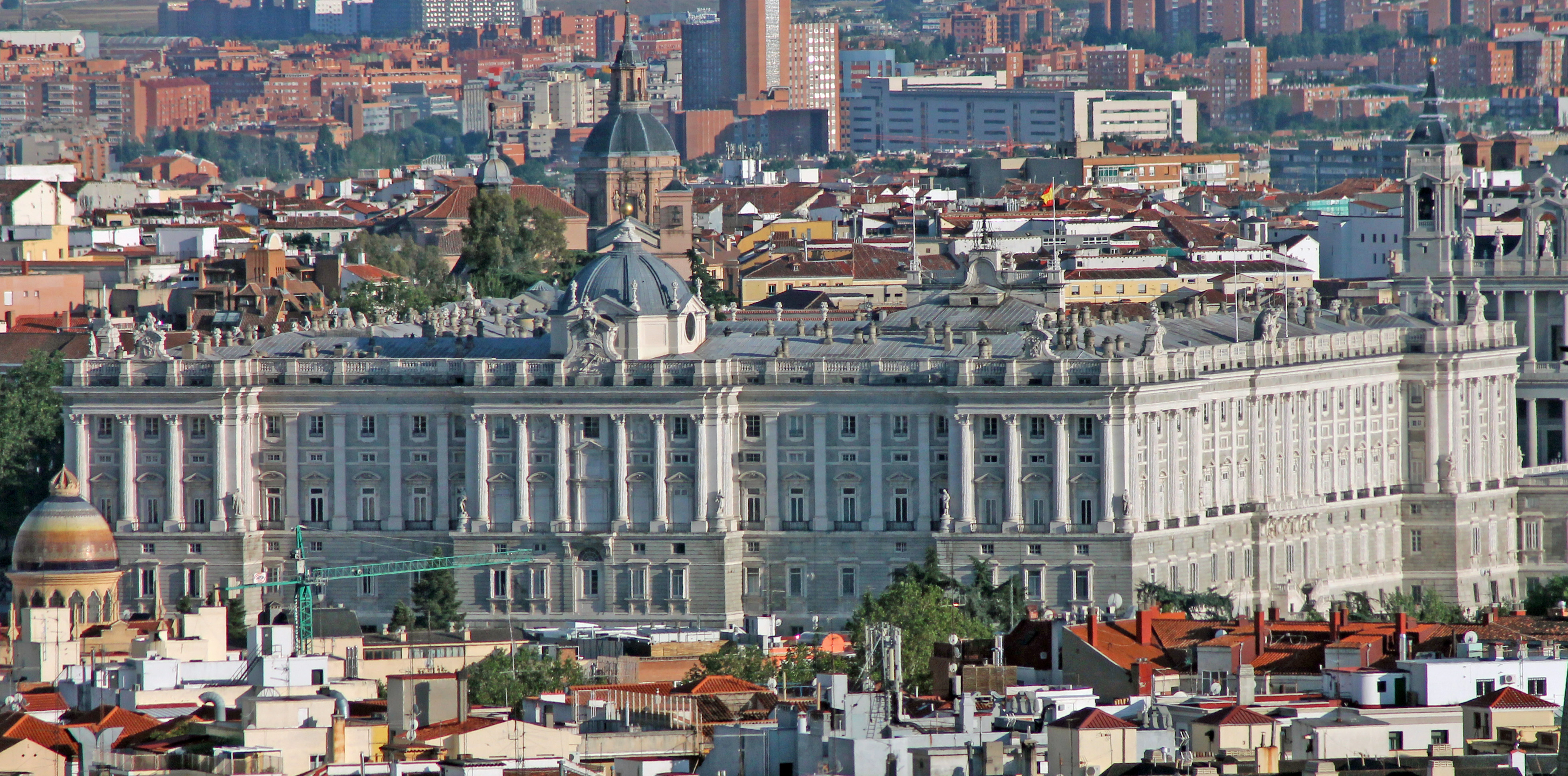 View of the ROYAL PALACE of MADRID (Spain) from Faro de Moncloa.