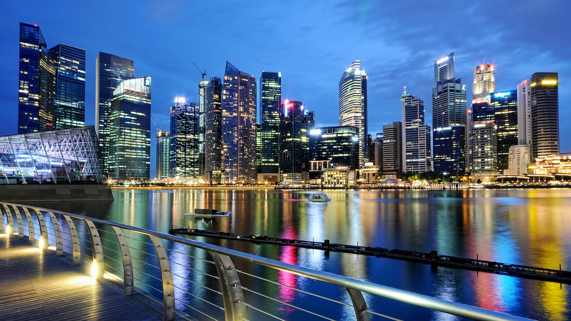 Singapore-beautiful-wallpaper-Hd-city-night-dark-night-light-water-buildings